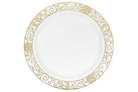 venetian plastic plates 10 25 large 10 pk white gold trim