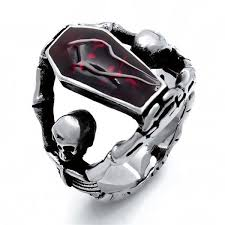 coffin ring 316l stainless steel vire coffin ring blown biker