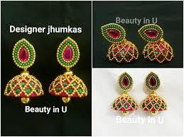 bridal jhumka earrings how to make designer silk thread jhumkas at home bridal jhumkas