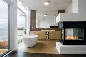 stylish 28 bathroom with a fireplace on fashionable fireplaces