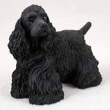 cocker spaniel black figurine stands new resin