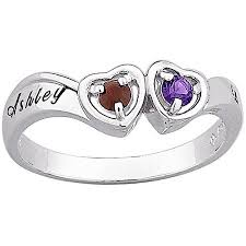 birthstone ring personalized sterling silver s birthstone ring walmart