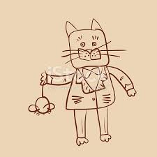 outline drawing fat dressed cat catch mouse stock vector