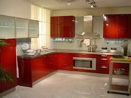 kitchen beautiful red kitchen cabinet brown countertop grey tile