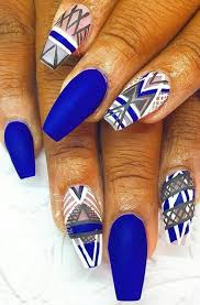 royal blue matte tribal aztec nails design nail design nail art