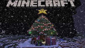 minecraft giant christmas tree equipped with presents and