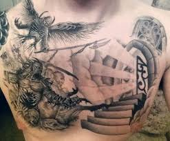 mens heaven and hell tattoos on chest tattoos