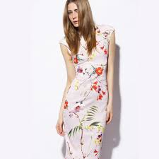fashion trends high neck short sleeves above knee length floral