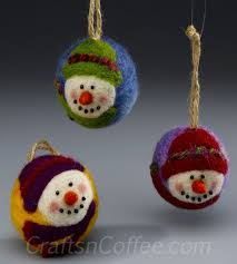how to make needle felted snowman ornaments for you and for gifts