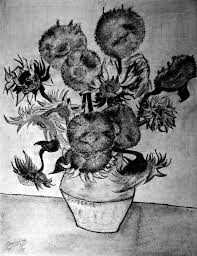 Pencil Sketch Of Flower Vase Graphite Pencil Replica Of Vincents Still Life Vase With Fifteen