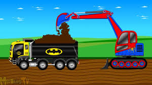 bigfoot meteor and the mighty monster trucks batman truck and spiderman bulldozer fixing the road kids video