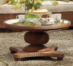 wicker side table with glass top round small coffee table diana color white wash with glass images