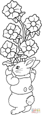 rabbit holds a lot of flowers coloring page free printable