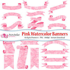 pink watercolor banners clipart digital clip art commercial