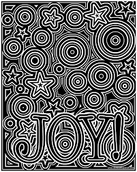 joy coloring page available in a black on white version as well