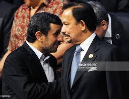 sultan hassanal bolkiah iran president mahmoud ahmadinejad l stands next to brunei