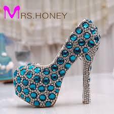 Wedding Shoes Blue Aliexpress Com Buy Beautiful Cinderella Crystal Shoes Bride