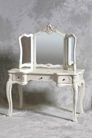 Dressing Table Designs With Full Length Mirror Simply White Bedroom Vanity Table Design With Carved Three Fold