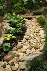backyard drainage trench with rocks good drainage for your