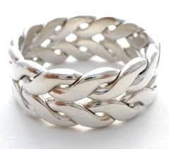 braided ring wide sterling silver braided ring band basketweave size 9 5 the