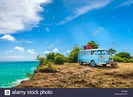 volkswagen van hippie blue bali indonesia jimbaran beach may 1 summer vacation concept
