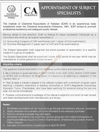 Subject To Send Resume The Institute Of Chartered Accountants Of Pakistan Jobs Dawn