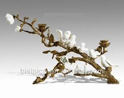 peaceful home decor porcelain birds perched stood brass tree trunk
