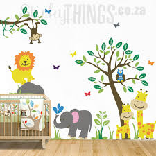 Monkey Nursery Wall Decals Safari Wall Sticker Nursery Baby Room Theme Sticky Things Wall