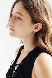 huggie hoop earrings lyst adina reyter pave huggie hoop earring in metallic
