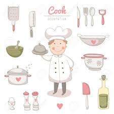 set of kitchen utensils set with a very cute cook no transparency
