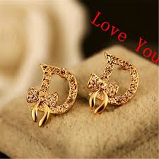 earring gold women s earring gold plated bow knot letter d stud
