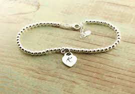 silver bracelet with heart charm images Sterling silver beaded monogram bracelet heart charm woobie beans jpg