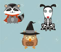 Halloween Animal Costumes by Halloween Animals Racoon Owl And Dog In Cartoon Costumes Royalty