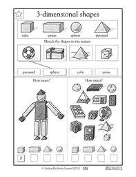 1st grade math worksheets recognizing 3 d shapes greatschools