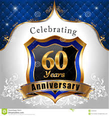 celebrating 60 years celebrating 60 years anniversary golden shield stock vector