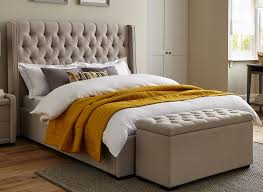Bed Frame Pictures Deacon Beige Fabric Upholstered Bed Frame Dreams