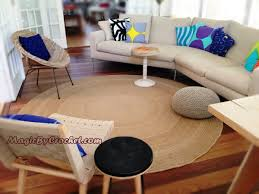 Round Natural Rug by Jute Area Rug 8ft 240cm Large Natural Jute Rug Hand Crochet