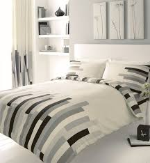 grey black cream block printed double duvet cover bed set