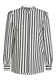 striped blouse striped blouse with concealed button placket white black