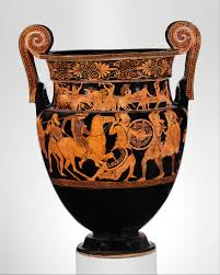 Ancient Greek Vase Painting Attributed To The Painter Of The Woolly Satyrs Terracotta Volute