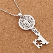 antique key necklace images Saint benedict medal cross smqlivb key religious pendant necklaces jpg
