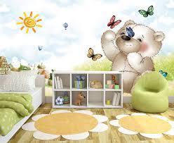 poster chambre bébé papier peint pour enfant personnalisable mon nounours joue avec les