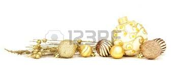 of gold baubles arranged as a border white