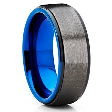 blue tungsten rings images Tungsten wedding band rose gold ring blue ring gray ring jpg
