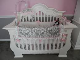 Pink And Gray Crib Bedding Sets White Pink And Gray Damask Baby Crib Bedding Set For A