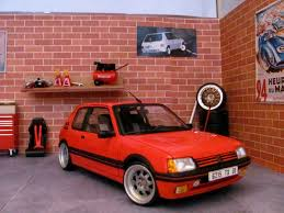 pego car peugeot 205 gti 1 9 rouge vallelunga wheels big offset solido