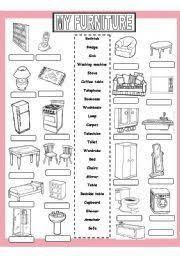 english worksheet my furniture enkku pinterest vocabulary