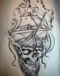 pirate ship flash black ink pirate skull with ship