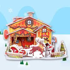 online shop christmas cottage diy handmade puzzle snow cartoon