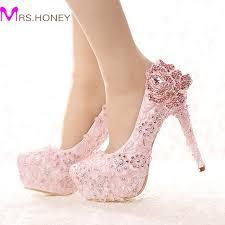 wedding shoes platform aliexpress buy fashion pink lace shoes rhinestone